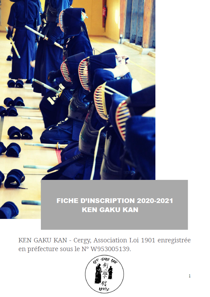 1ère page du fichier d'inscription 2020-2021